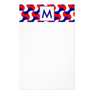 RED WHITE & BLUE RETRO PRINT with MONOGRAM Stationery