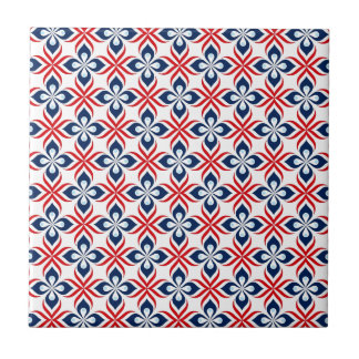 Red, White, & Blue Retro Style Small Square Tile