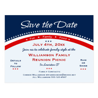 Red White Blue Reunion, Party, Save the Date Postcard