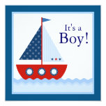 Red White Blue Sailboat Baby Boy Shower Custom Announcements