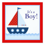 Red White Blue Sailboat Baby Shower Custom Announcement