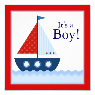 Red White Blue Sailboat Nautical Baby Shower Card