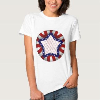 Red White & Blue Satin Star Shape Design Frame Tshirt