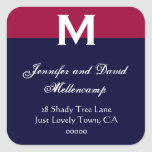 Red, White Blue Simple and Elegant Square Stickers