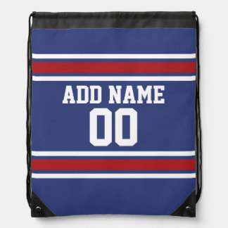 Red White Blue Sports Jersey Custom Name Number Drawstring Bag