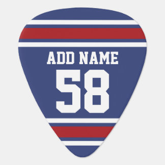Red White Blue Sports Jersey Custom Name Number Guitar Pick