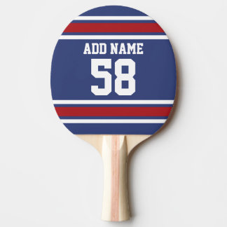 Red White Blue Sports Jersey Custom Name Number Ping Pong Paddle