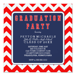 Red White Blue Sporty Chevrons Graduation Party 13 Cm X 13 Cm Square Invitation Card