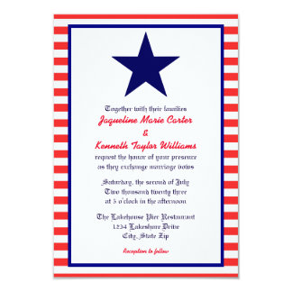 Red White & Blue Star - 3x5 Wedding Invitation