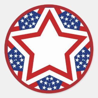 Red White & Blue Star Design to Add Text Round Sticker