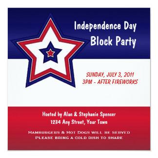 """Red white & Blue Star Invitation 5.25"""" Square Invitation Card"""