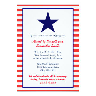 Red White & Blue Star - Party Invitation