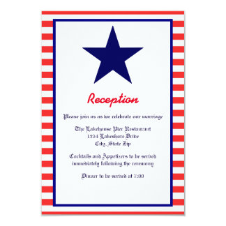 Red White & Blue Star - Reception Invitation