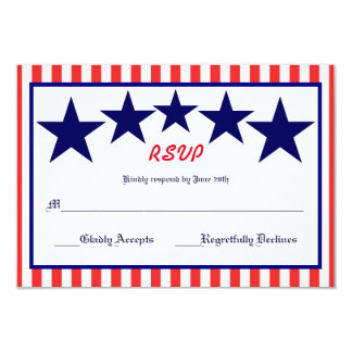 Red White & Blue Star - RSVP Card