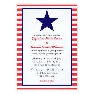 Red White & Blue Star - Wedding Invitation