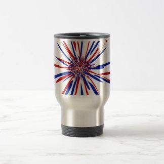 Red White & Blue Starburst Stainless Steel Travel Mug