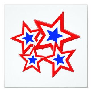 Red White & Blue Stars 13 Cm X 13 Cm Square Invitation Card