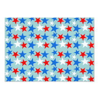 Red White & Blue Stars 13 Cm X 18 Cm Invitation Card