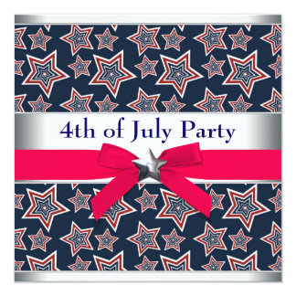 Red White Blue Stars 4th of July BBQ Party 13 Cm X 13 Cm Square Invitation Card