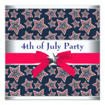 Red White Blue Stars 4th of July BBQ Party 5.25x5.25 Square Paper Invitation Card