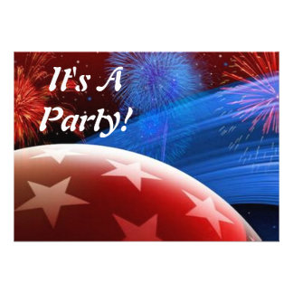 Red White Blue Stars and Fireworks Invitation