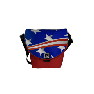 Red white & Blue Stars and Stripes Courier Bag