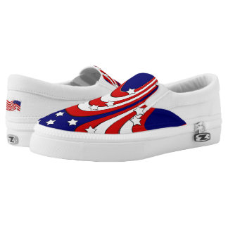 Red White Blue Stars and Stripes Patriotic Printed Shoes