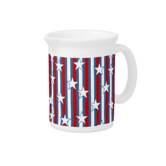 Red White Blue Stars and Stripes Pitcher