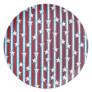 Red White Blue Stars and Stripes Party Plates