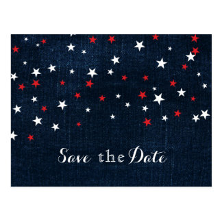 Red White & Blue Stars Denim Save the Date Party Postcard