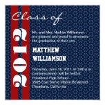 Red  White Blue Stars Graduation Invitation