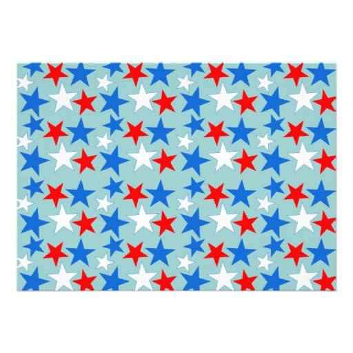 Red White & Blue Stars Personalized Invites