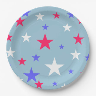 Red White Blue Stars Paper Plate 9 Inch Paper Plate