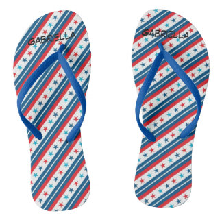 Red White & Blue stars Personalized Flip Flops