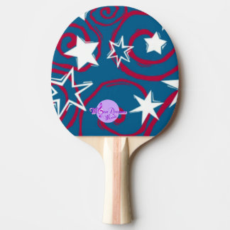 Red White & Blue Stars Ping Pong Paddle