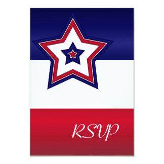 Red White & Blue Stars RSVP Card 9 Cm X 13 Cm Invitation Card
