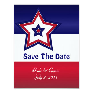 Red White & Blue Stars Save The Date Cards 11 Cm X 14 Cm Invitation Card
