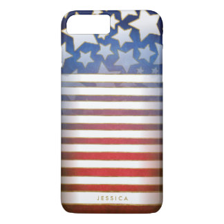 Red White & Blue Stars & Stripes with Name iPhone 7 Plus Case