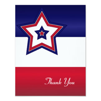 Red White & Blue Stars Thank You Card 11 Cm X 14 Cm Invitation Card