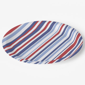 Red white blue stripe paper plate 9 inch paper plate
