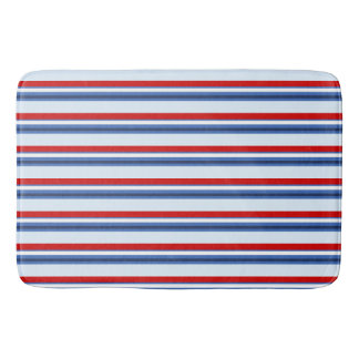Red White Blue Striped Bath Mats