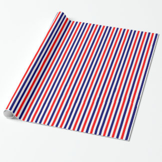 Red White Blue Striped Gift Wrapping Paper Stripes