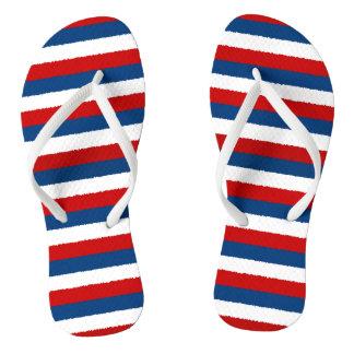 Red White Blue Striped Pattern Flip Flops
