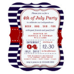 Red, White & Blue Stripes 4th Of July Party 13 Cm X 18 Cm Invitation Card