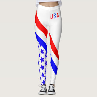 Red White Blue Stripes and Stars Leggings