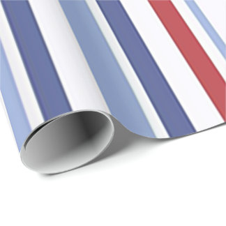 Red white blue stripes wrapping paper