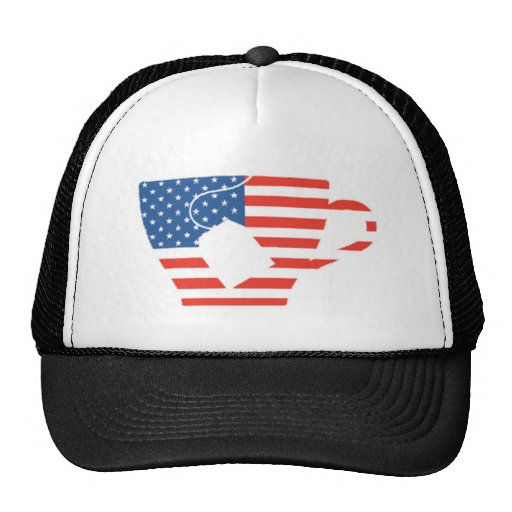 Red White & Blue Tea Cup Mesh Hats