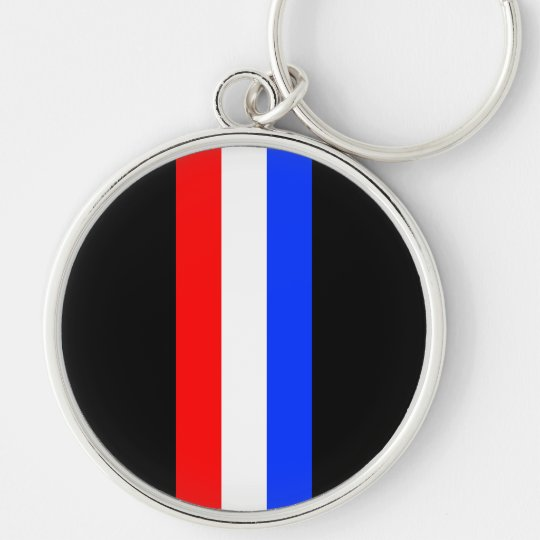 Red White Blue Tri Bar Stripes Keychain