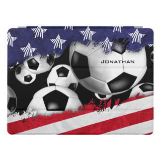 red white blue United States flag w soccer balls iPad Pro Cover