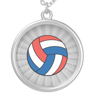 red white blue volleyball pendants
